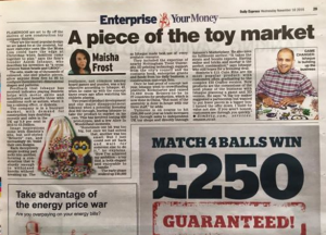 Simbrix toys in the Daily Express for Christmas
